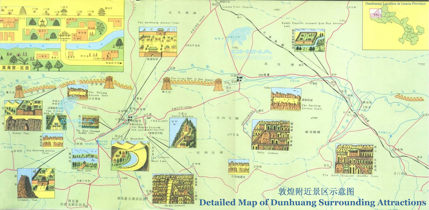 Detailed Map Of Dunhuang Surrounding Attractions Mogao