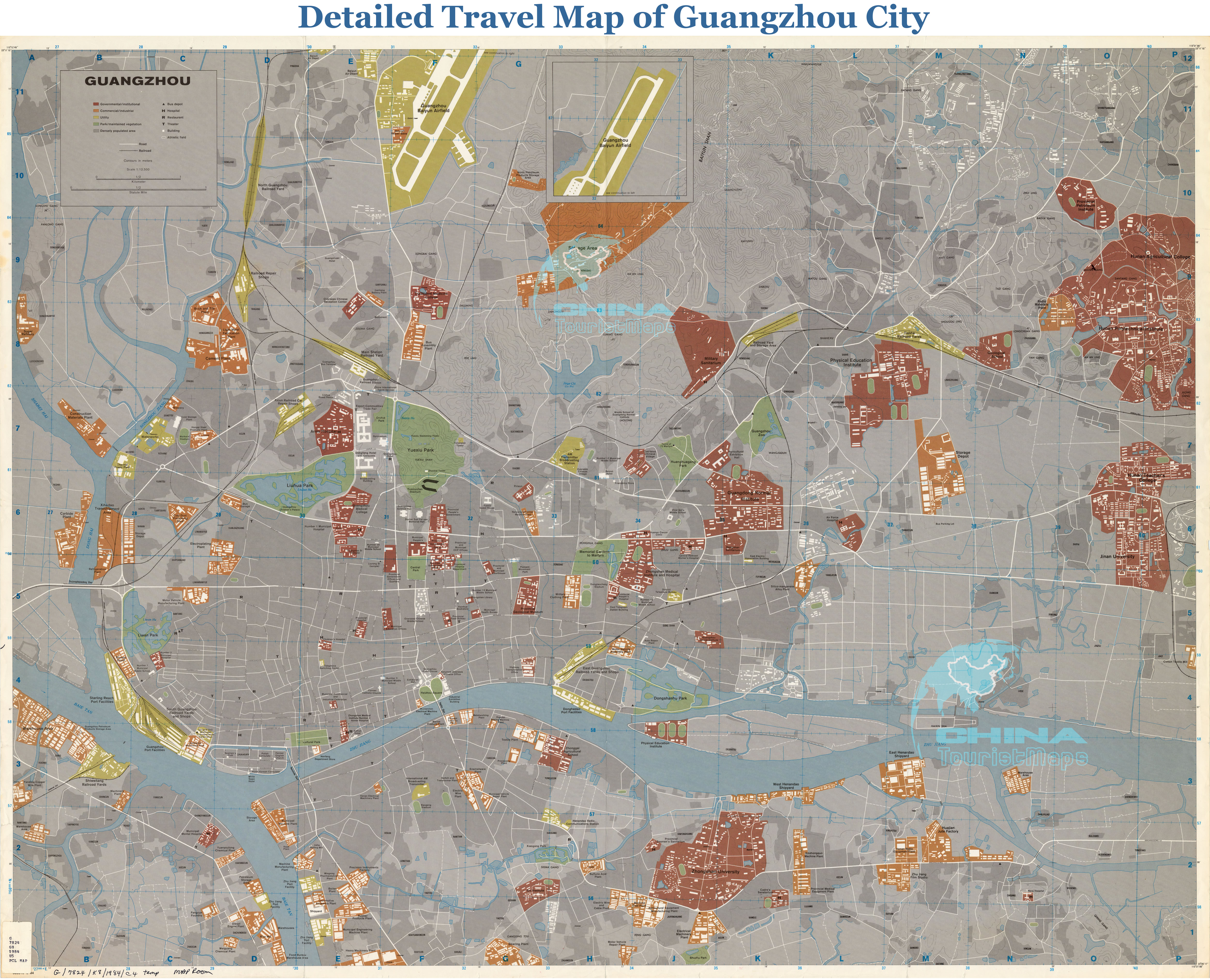 Travel Map of Guangzhou - District, Buildings, Rivers, Attractions ...