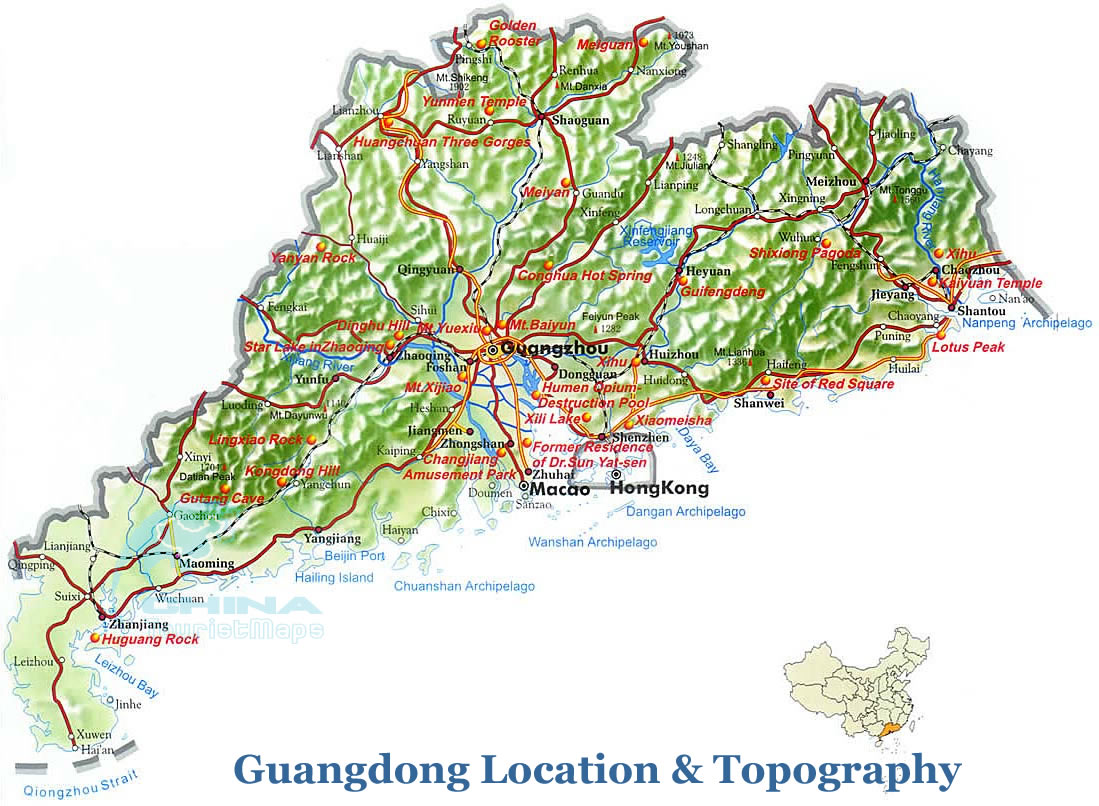 Guangdong Topographic Map Guangdong Location In China