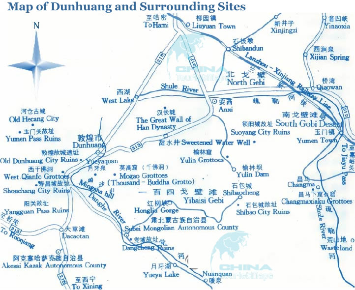 Detailed Map Of Dunhuang And Surrounding Sites  Dunhuang Road Map