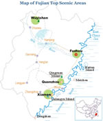 Map of Fujian Top Scenic Areas
