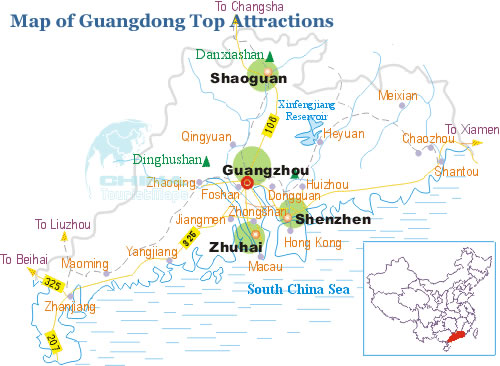 Map of Guangdong Top Attractions Destinations