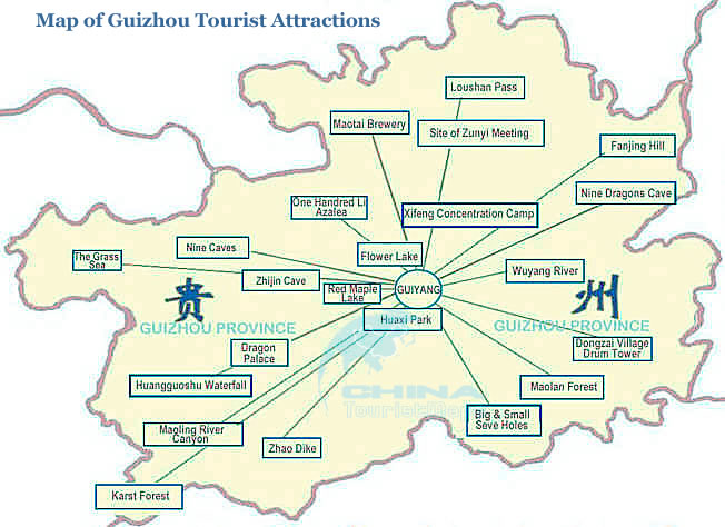 Map of Guizhou Attractions and Places of interest Guizhou China Tour – Tourist Attractions Map In China