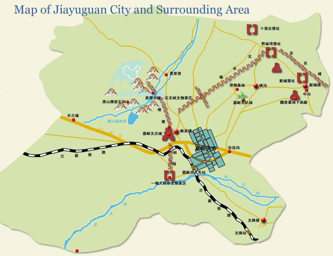 Map Of China And Surrounding Areas.Detailed Map Of Jiayuguan City And Its Surrounding Area In Chinese