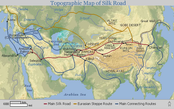 Topographic Map Mountains.Topographic Map Of Silk Road Main Silk Road Map In English