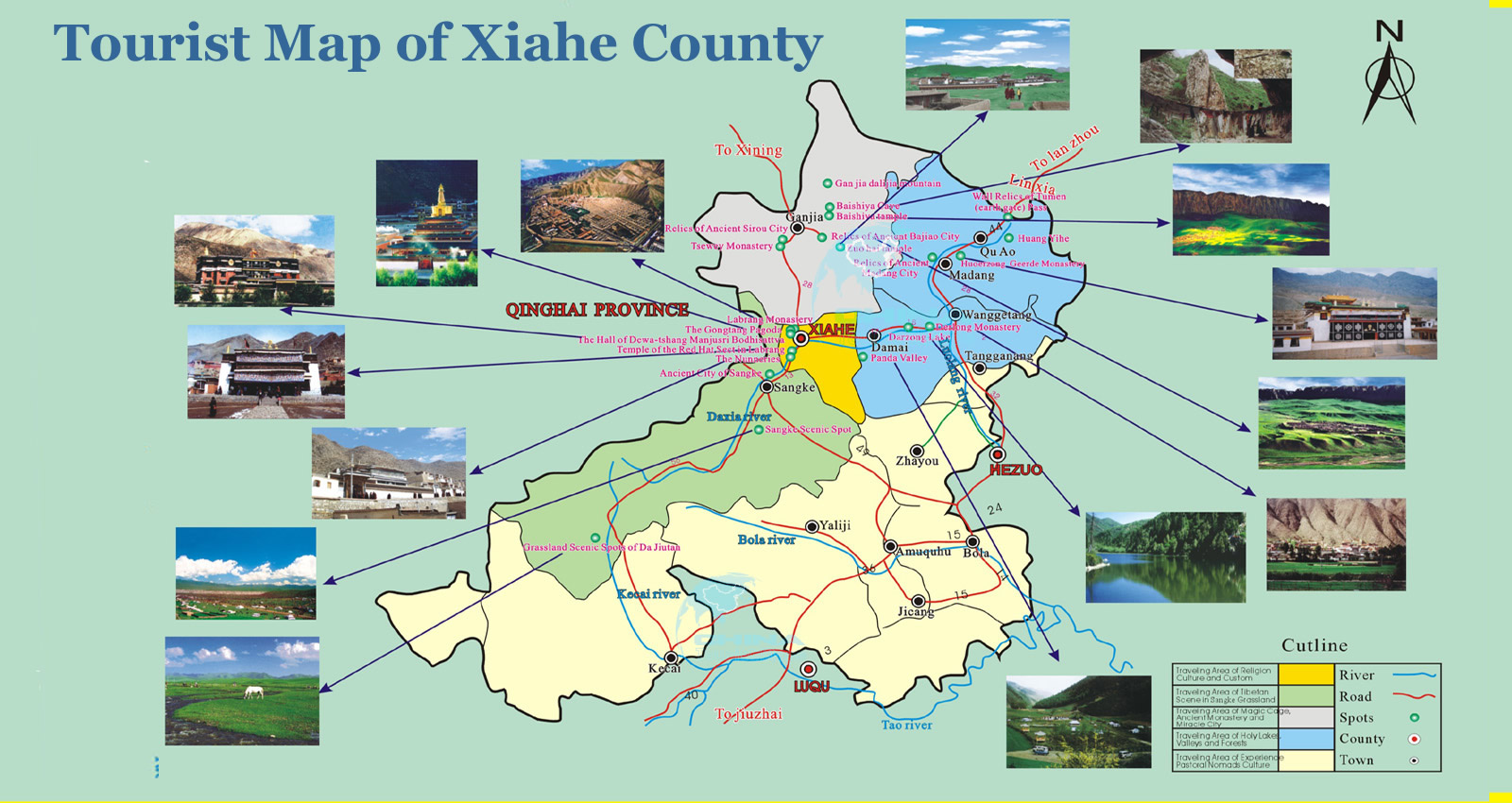 Tourist Map of Xiahe County Gansu China – China Tourist Attractions Map