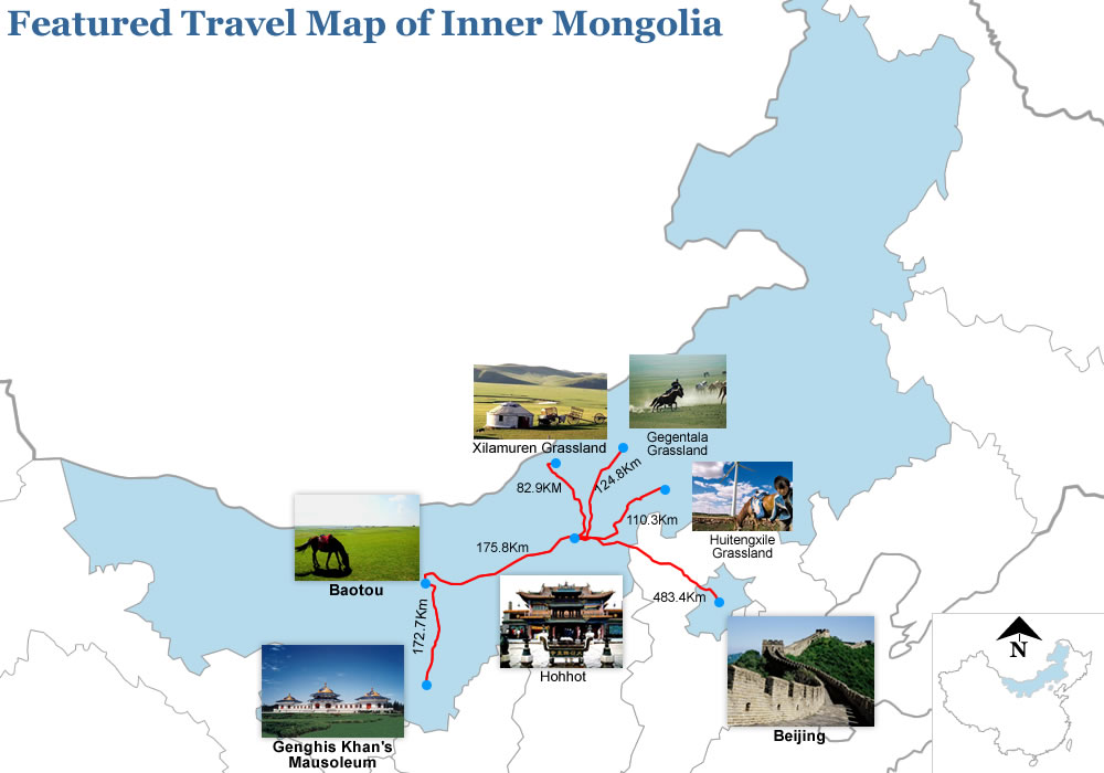 Featured Travel Map of Inner Mongolia China – Tourist Attractions Map In China