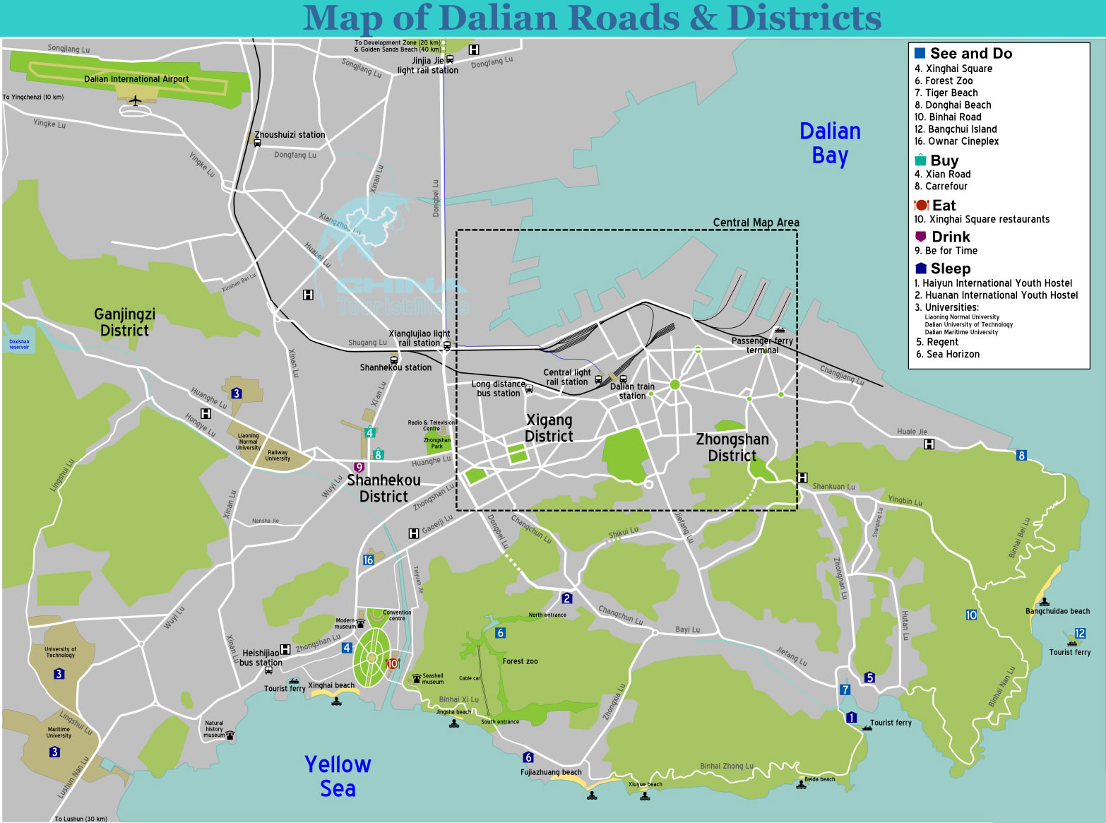 Travel to Dalian Roads and Diatricts Map Buy Eat Drink sleep Map