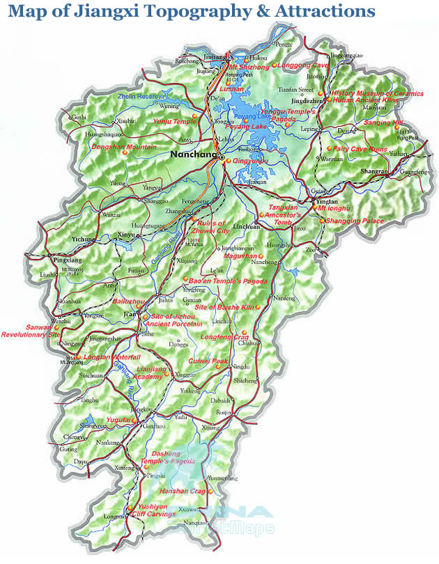 Jiangxi Topographic Map, Top Tourist Attractions in Jiangxi