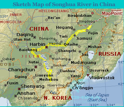 Map Of China With Latitude And Longitude.Sketch Map Of Songhua River In China
