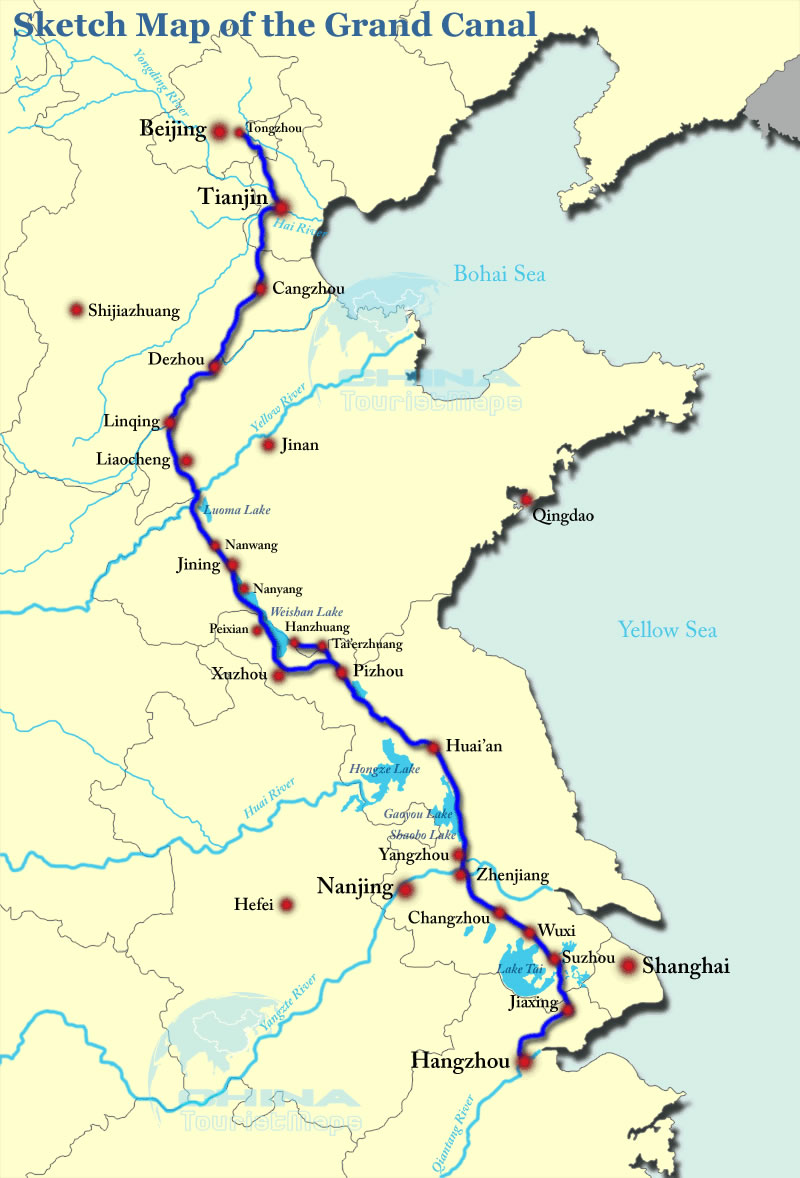 Grand Canal China Map Map of Grand Canal Line, China Grand Canal Map