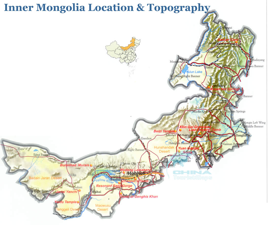 Inner Mongolia Topographic Map, Geography Map of Inner Mongolia China