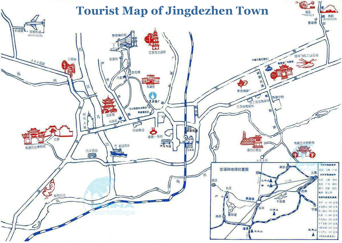 Detailed Tourist Map Of Jingdezhen Town - Jingdezhen map