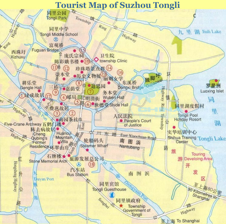 Tongli Map Map Of Tongli Tongli Google Map - Suzhou map