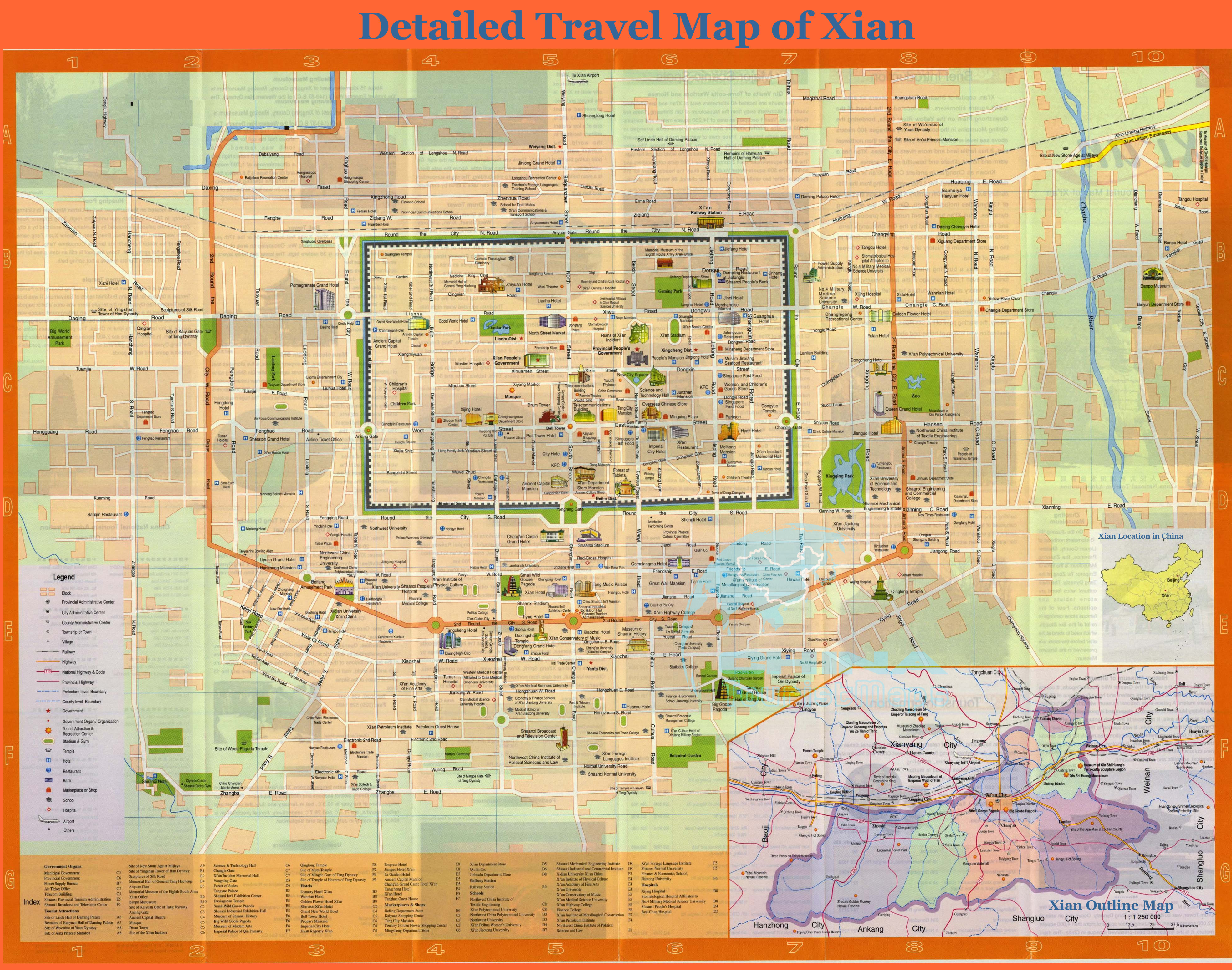 Xi\'an Maps ? Travel Guide, Roads, Transportations, Hotels, Airport ...
