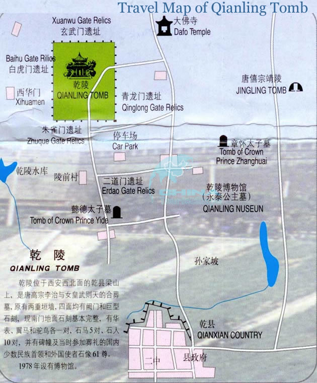 Qianling Tomb Tourist Map Travel Guide Tourist Routes – Xian Tourist Map