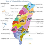 Taiwan Cities & Counties Map