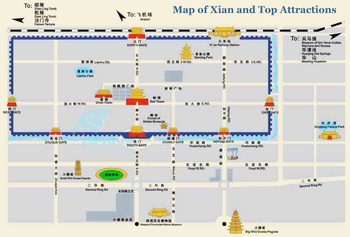 Map of Xian and Top Attractions Xian Travel Guide – Xian Tourist Map