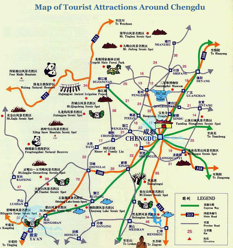 Detailed Map of Tourist Attractions around Chengdu Mt Qingcheng – Shanghai Tourist Attractions Map
