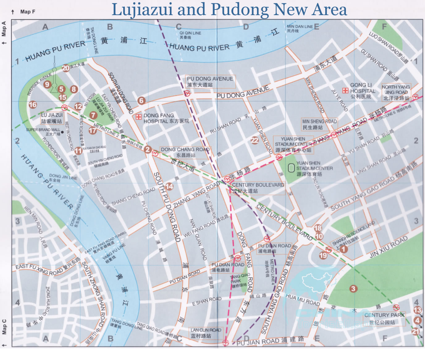 Pudong Shanghai Map Detailed Map of Lujiazui and Pudong New Area