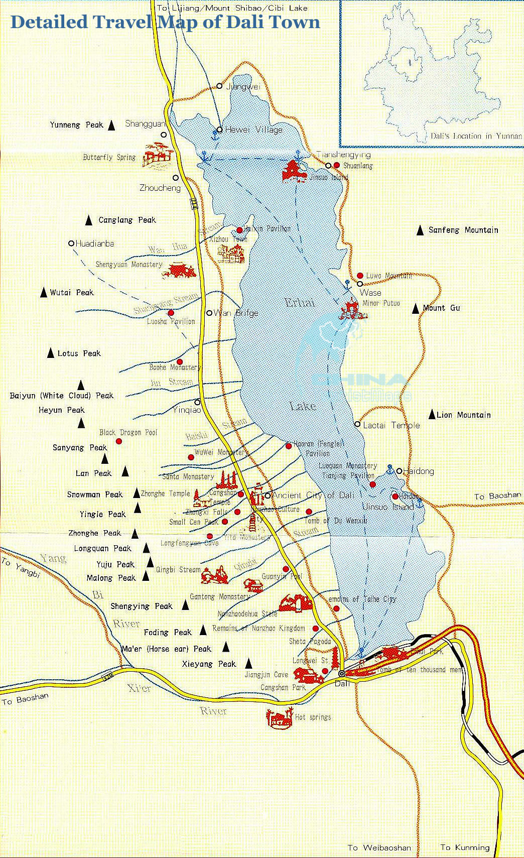 Map Of Dali Town Dali Travel Guide