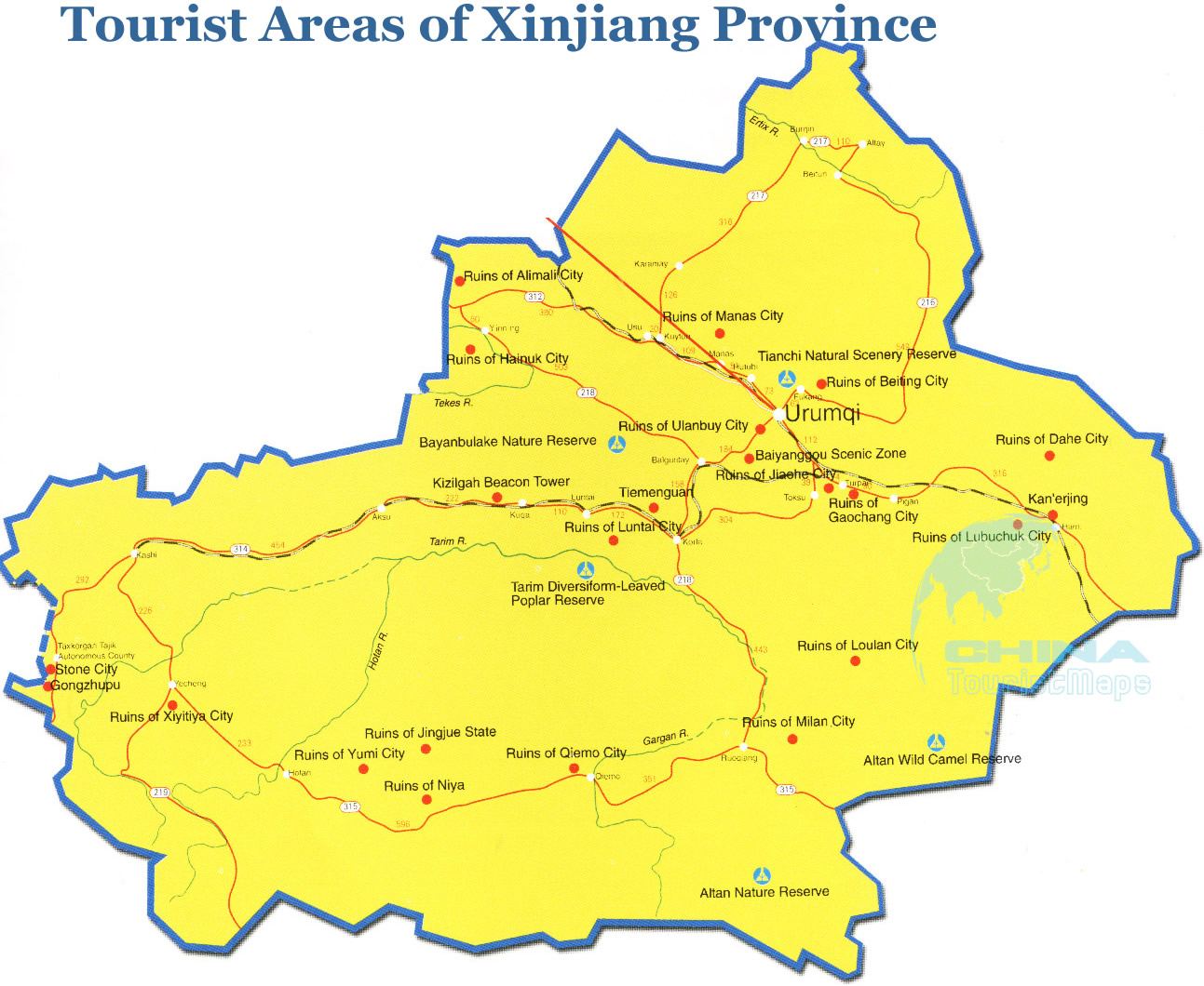 Map Xinjiang.Tourist Map Of Xinjiang Xinjiang Scenic Ruins