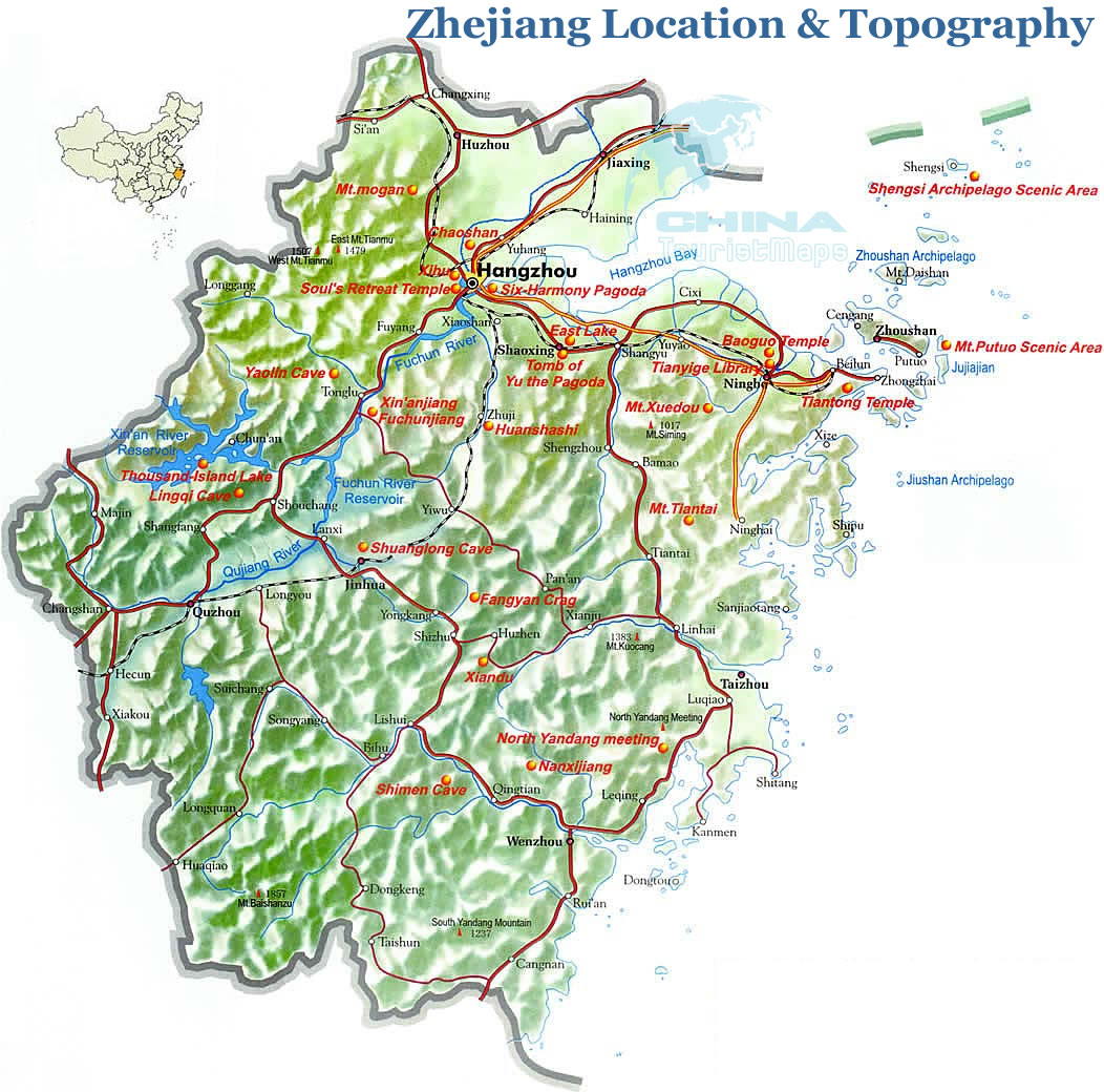 Map of Zhejiang Geography, Location Map of Zhejiang