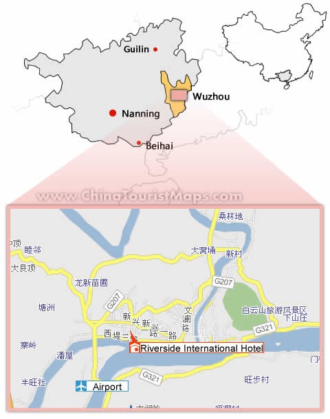 Hotels in Wuzhou and Maps