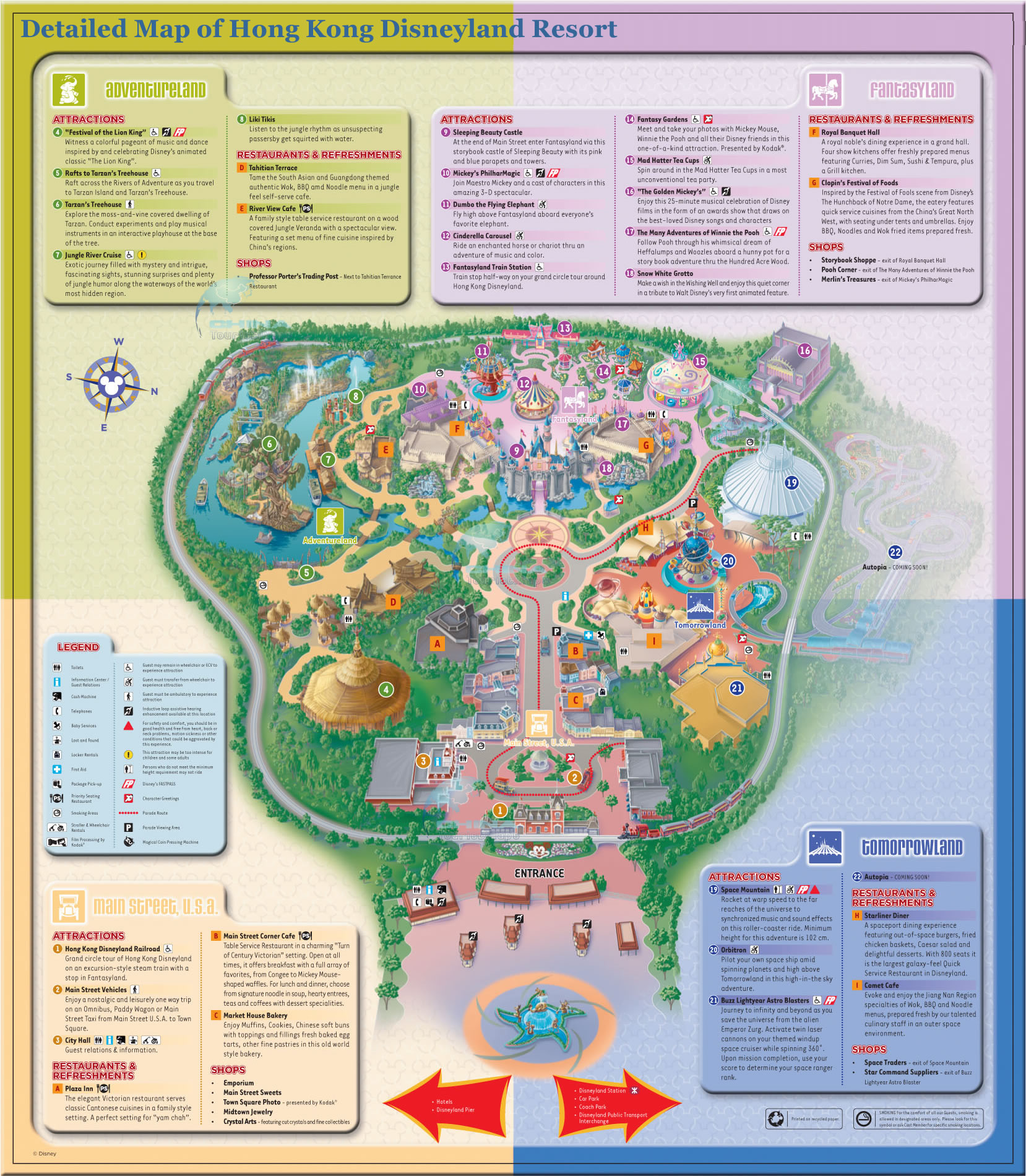 Hong Kong Disneyland Map Detailed Map of Hong Kong Disneyland Resort ? Four Themed Lands  Hong Kong Disneyland Map