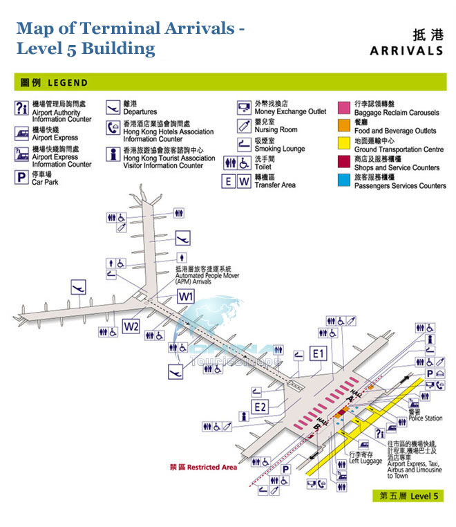 Hong Kong Airport Departures Map Map of Hong Kong Airport Arrivall Hall   5 Level Building